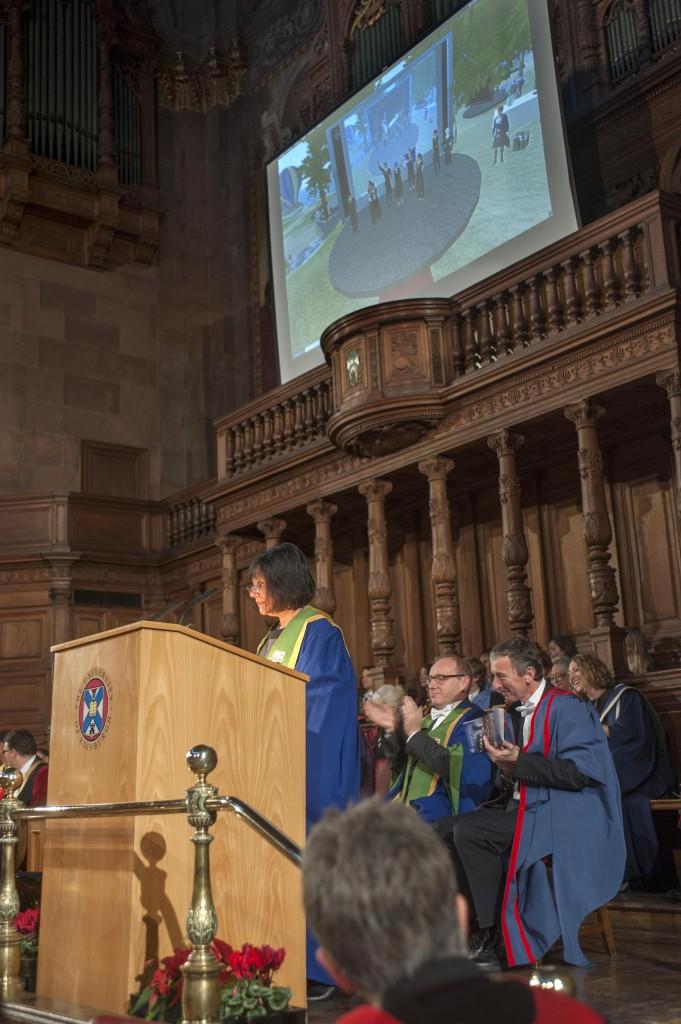 Virtual Graduation on the big screen. Photo by Douglas Robertson